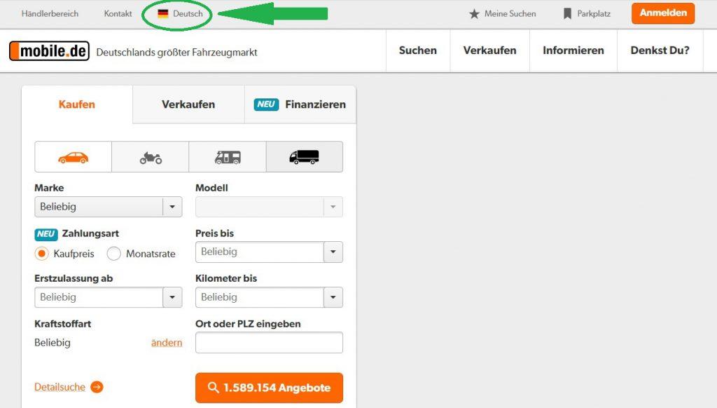 importar un coche desde Alemania con mobile de español 1